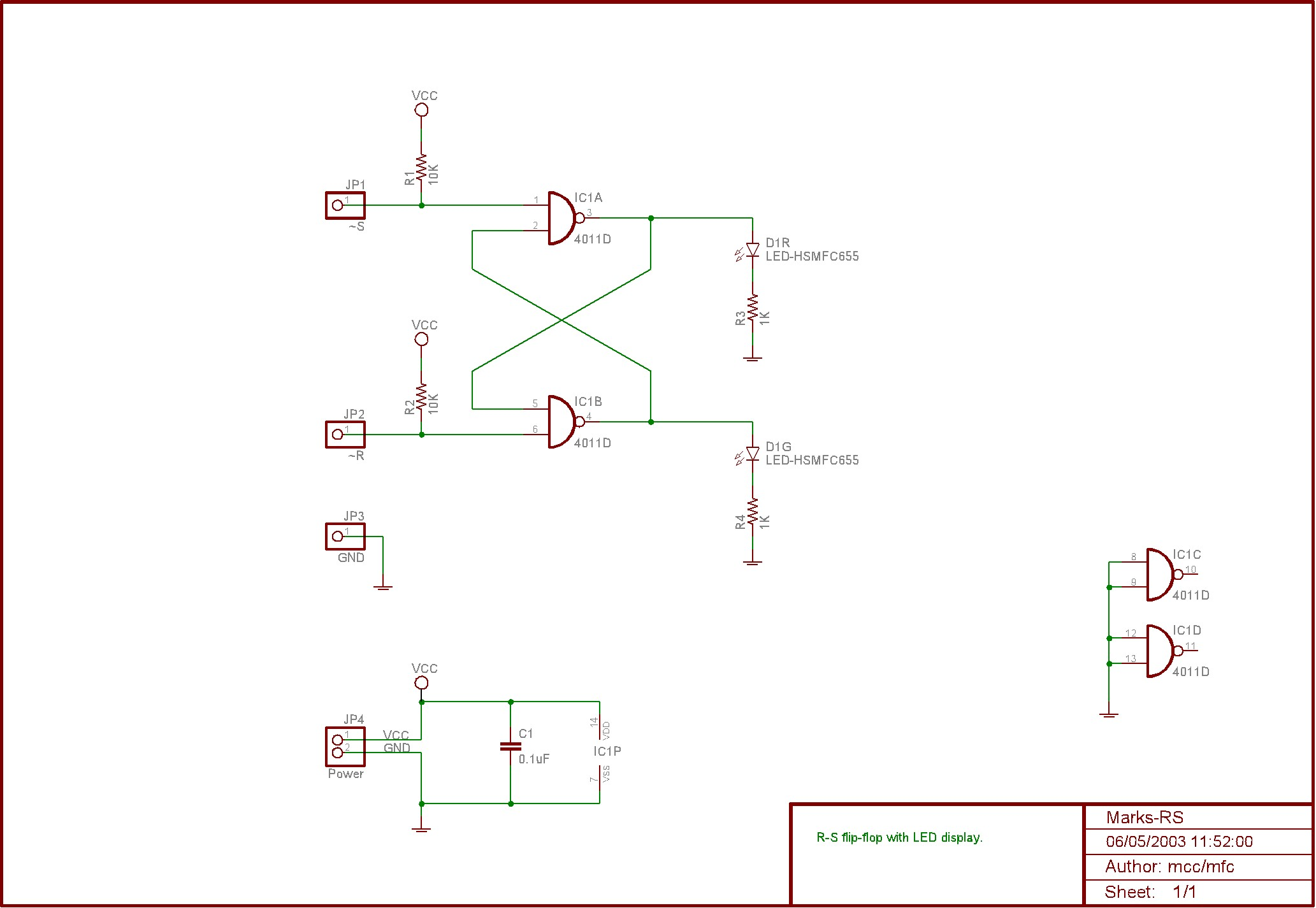 Marks Rs Flip Flop Project Nand Gate Circuit Diagram On Dflip Heres The Full Schematic